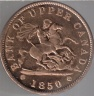 .01 1850 Bank of Upper Canada Token Obv